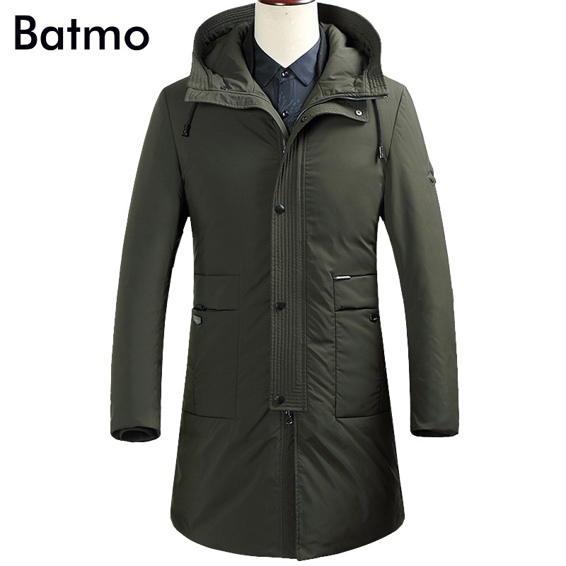 Batmo 2017 new arrival winter high quality 90% white duck down business hooded long jacket men,winter mens coat 87616