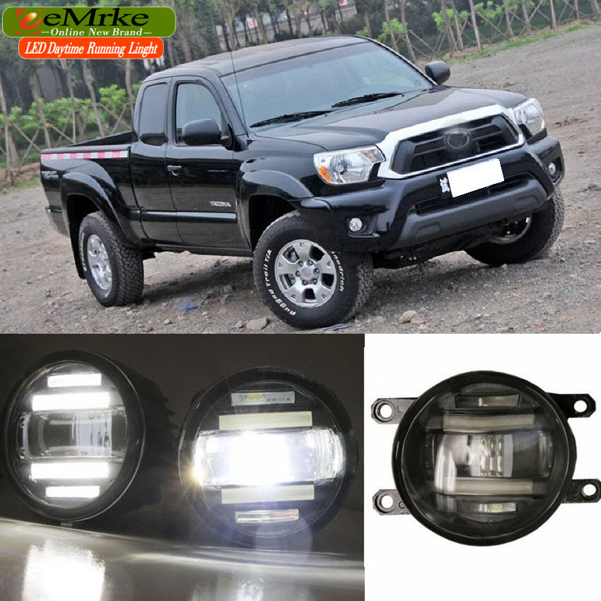 eeMrke Xenon White High Power 2in1 LED DRL Projector Fog Lamp With Lens For Toyota Tacoma  2011 2012 2013 2014 2015