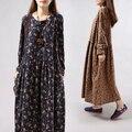 Mulheres Vestido de Manga Comprida Solta Uma Peça Vestido Floral Do Vintage Algodão estampado Vestido Maxi Plus Size Vestido De Festa Completa vestido