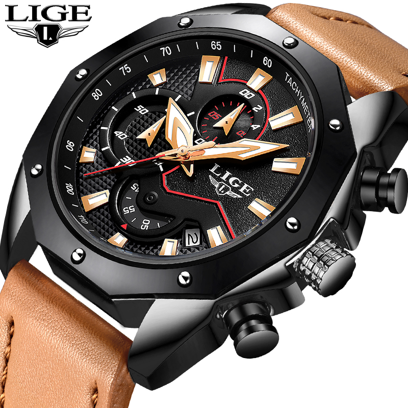 Men Watches LIGE Top Brand Luxury Military Waterproof Sport Watch Men Fashion Casual Leather Quartz Male Watch Relogio Masculino цена