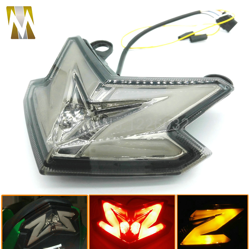Motocross Motorcycle Integrated LED Tail Light Turn signal Blinker Light For KAWASAKI Z800 2013-2015 Red+Yellow 12v 3 pins adjustable frequency led flasher relay motorcycle turn signal indicator motorbike fix blinker indicator p34