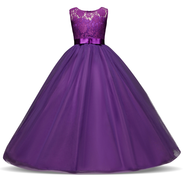 2f5e1ea52d6 5-14 Years Teenage Girl Long Evening Dress Children Kids Dresses for Girls  Graduation Communion Gown Prom Party Lace Dress