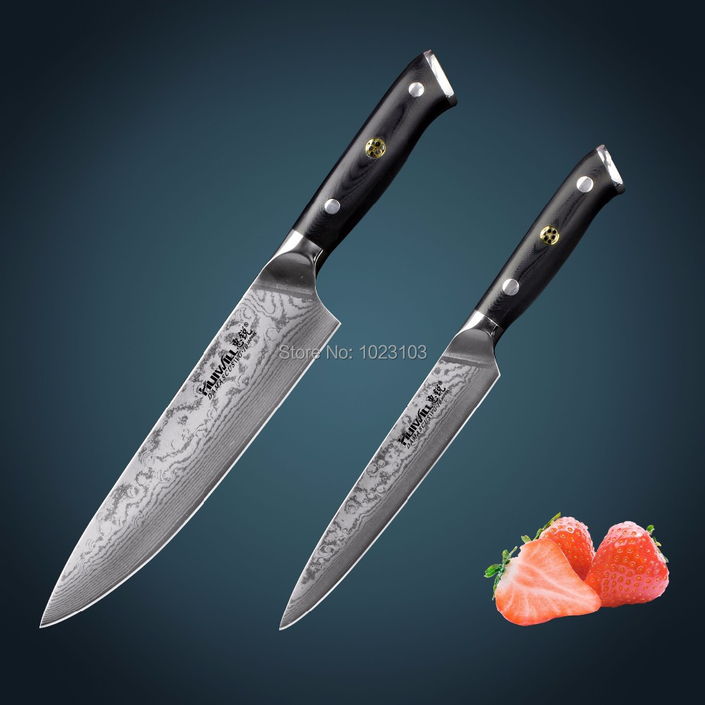 Super quality 2pcs Japanese Takefu VG10 Damascus steel chef kitchen knife set utility knives Slicing knives