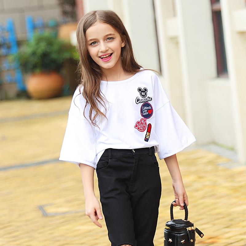 2018 girl summer t-shirt girls clothing summer t-shirt flare sleeve female big boy basic shirt top cotton 160