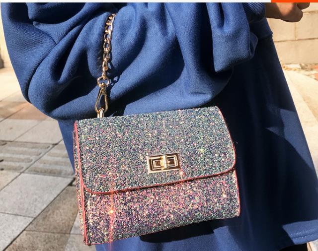 The new 2018 joker sequins small fang han edition tide lock chain bag bag handbag shoulder