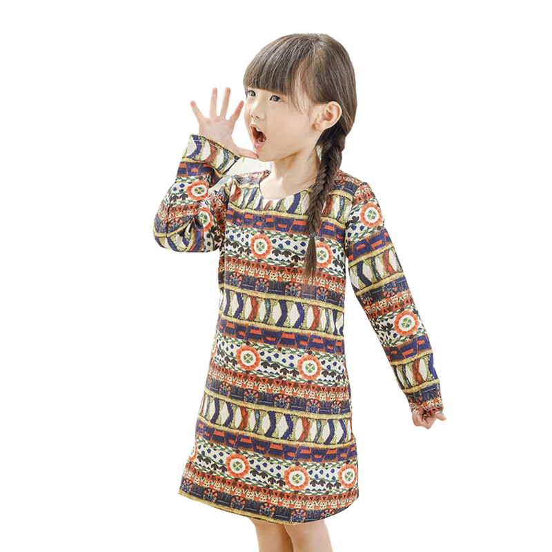 2017 Hot Brand Geometric Party Wedding Girls Long Sleeve Dresses Kids Dress for Holiday Princess Children Clothes 3-10