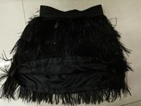 Groothandel koop hoge Kwaliteit Een stuks Sexy dame natuurlijke struisvogelveren rok zwart bruiloft decoratie