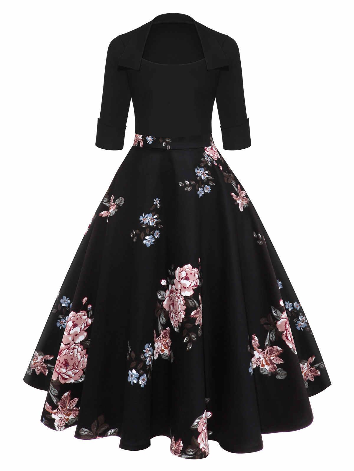 Gamiss Женская мода 2018 цветочный принт черное миди винтажное расклешенное платье Vestidos квадратное бальное платье с круглым вырезом ТРАПЕЦИЕВИДНОЕ элегантное вечернее платье
