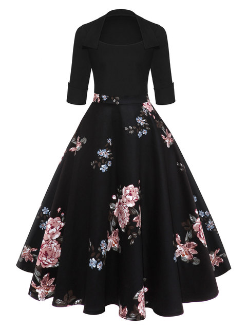 e40483b6665 Gamiss Women 2018 Fashion Floral Print Black Midi Vintage Flare Dress  Vestidos Square Neck Ball Gown A Line Elegant Party Dress