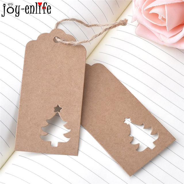 100pcs Christmas Gift Tags DIY Kraft Paper Card Labels Christmas