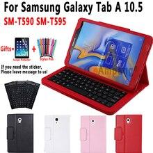 Klavye durumda Samsung Galaxy Tab için bir 10.5 2018 SM T590 SM T595 T590 T595 kılıf klavye Samsung Tab için bir 10.5 kapak + klavye