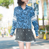 Button Blue Shirt Dress Geometric Dress Brand Dress Blue Patchwork Dress White and Black