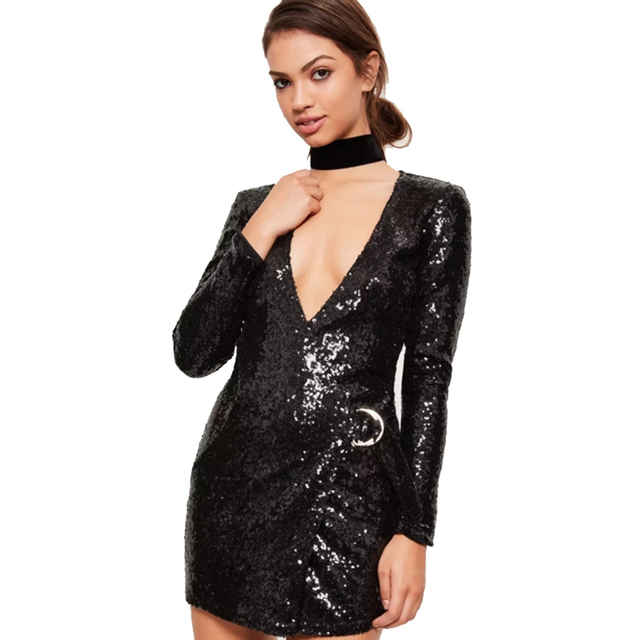 08fdc8310a HDY Haoduoyi 2017 Summer Sexy Deep V-neck Dress Women Solid Black Sequins  Long Sleeve Mini Dress Slim Bodycon Female Party Vesti