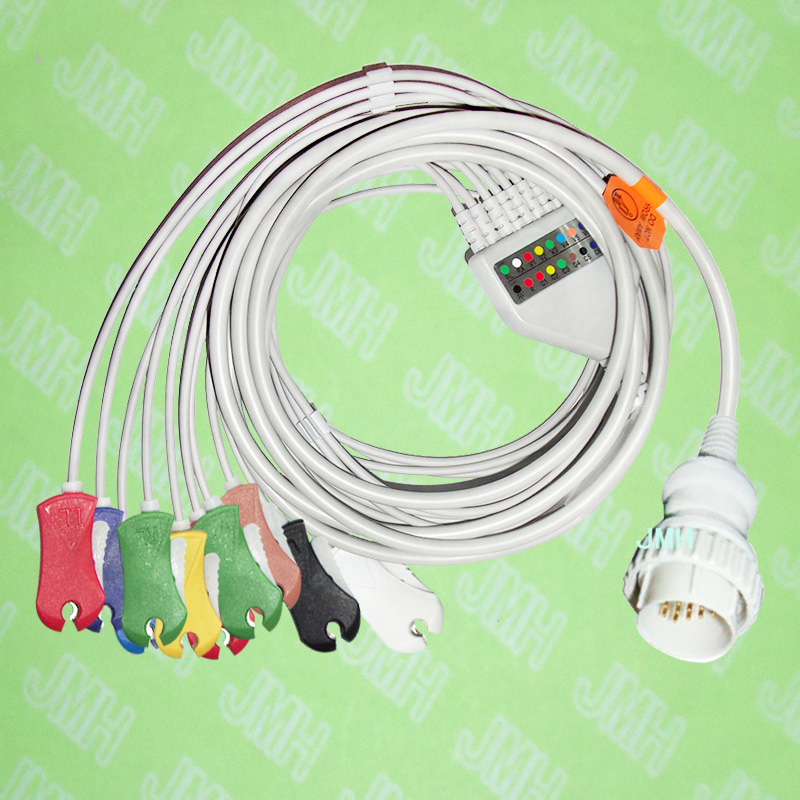 Use for 16 pin Kanz103/106,Cardioline 3plus/60plus EKG Machine,One-piece 10 LEAD ECG cable and Din clip leadwires,IEC or AHA. цена 2017