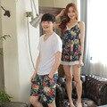 Лето Корейской версии пару пижамы с короткими рукавами из двух частей мужчин и женщин цвет досуг главная пижамы