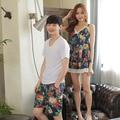Verão versão Coreana do casal pijama curto-de mangas compridas dois-peça homens e mulheres cor de lazer pijama em casa