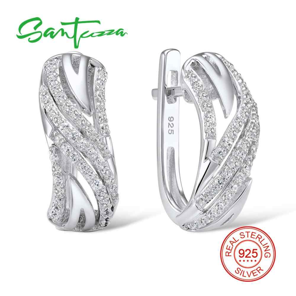SANTUZZA Silver Earrings For Women Authentic 925 Sterling Silver Stud Earrings Sparkling Cubic Zirconia brincos Fashion Jewelry