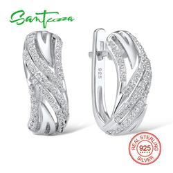 Женские серебряные серьги SANTUZZA, подлинные 925 пробы серебряные серьги, блестящие серьги с фианитом, модные ювелирные изделия