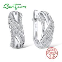 SANTUZZA Silver Earrings For Women Authentic 925 Sterling Silver серьги женские Sparkling Cubic Zirconia brincos Fashion Jewelry