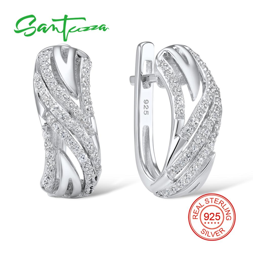SANTUZZA Silver Earrings For Women Authentic 925 Sterling Silver серьги женские Sparkling Cubic Zirconia brincos Fashion Jewelry-in Stud Earrings from Jewelry & Accessories