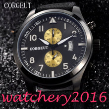 Newest Hot Fashion Luxury Sport Corgeut 46mm black dial PVD Case date window Round quartz Mechancial Mens WristWatches