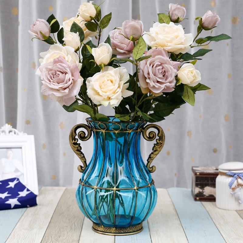 Colourful Transparent Vase Ornament Modern Minimalist Living Room Transparent Fresh Flower Vase Glass Iron Wedding Decoration
