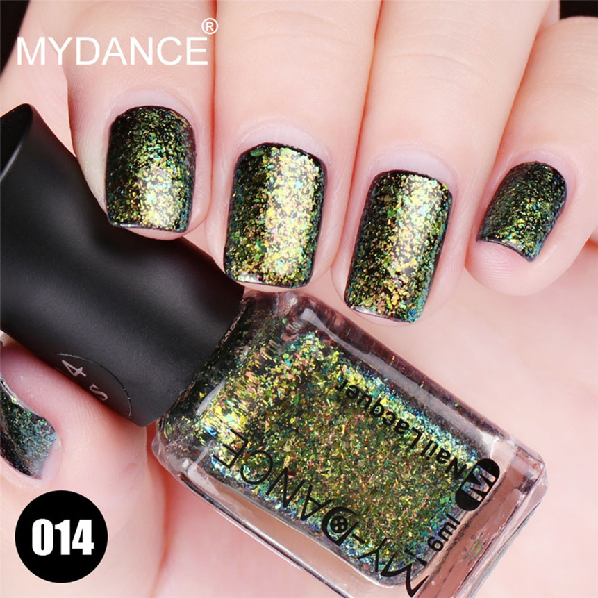 Drop Shipping MYDANCE 6ML Fantasy Nail Polish Shiny Glitter Nail Art ...