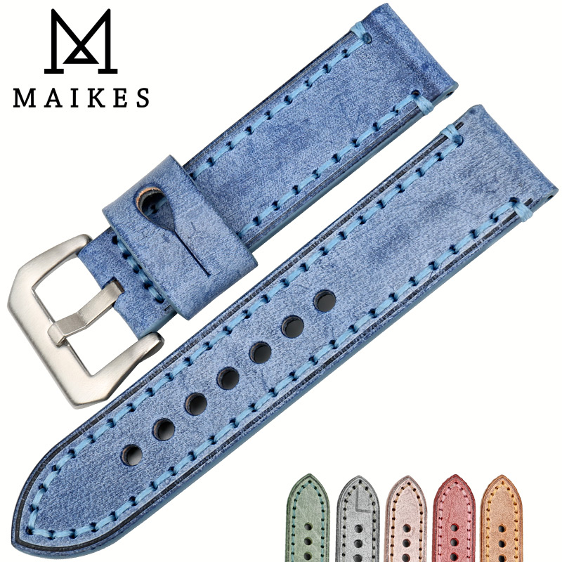 MAIKES Watchbands 22mm 24mm vintage blue watch strap Italian bridle leather