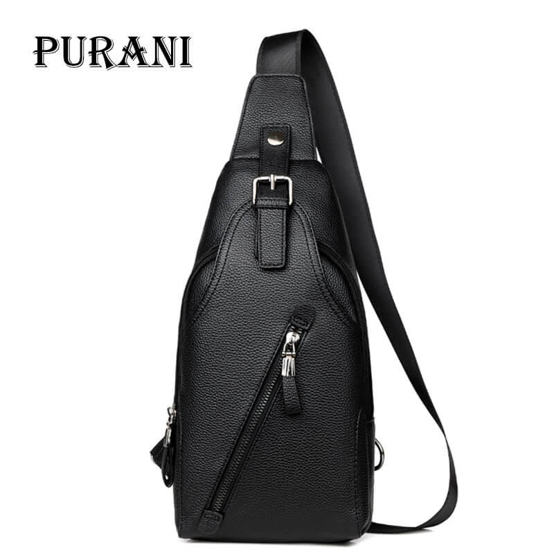 PURANI Travel Bag Men Shoulder Bag Leather Purses and Handbags Man Chest Pack Single Back Pack Crossbody Bags for Men Sling Bag