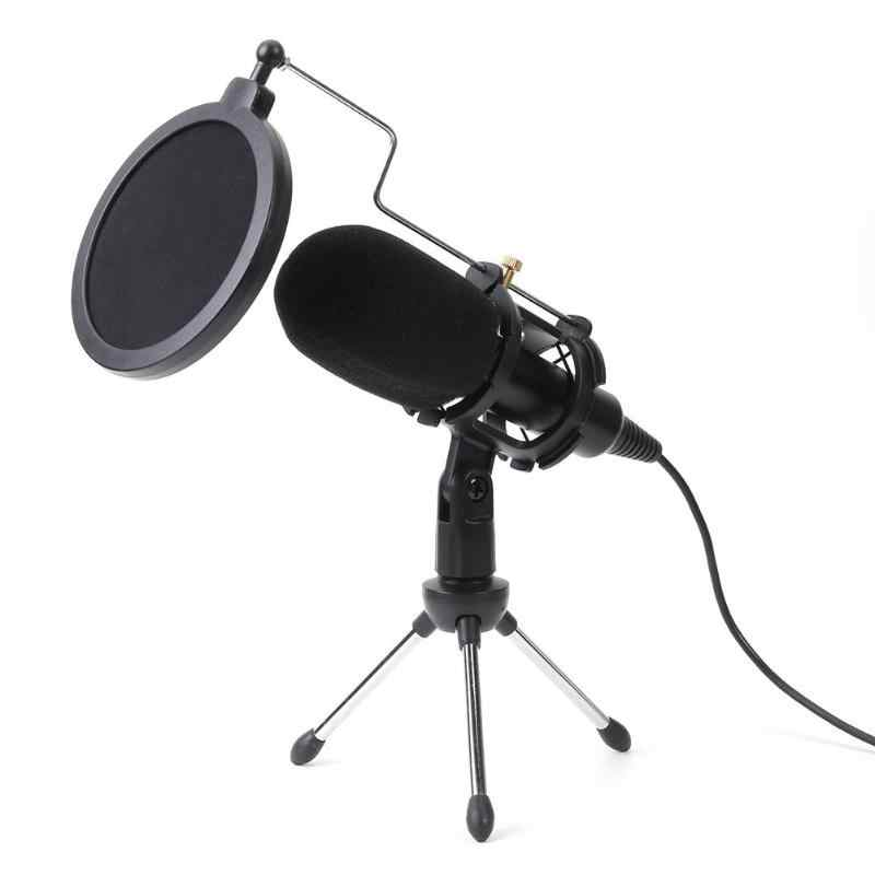 Desktop USB Microphone Condenser Wired Handheld Mic Condenser with Folding Stand Windshield for PC Chatting 170*32*32mm