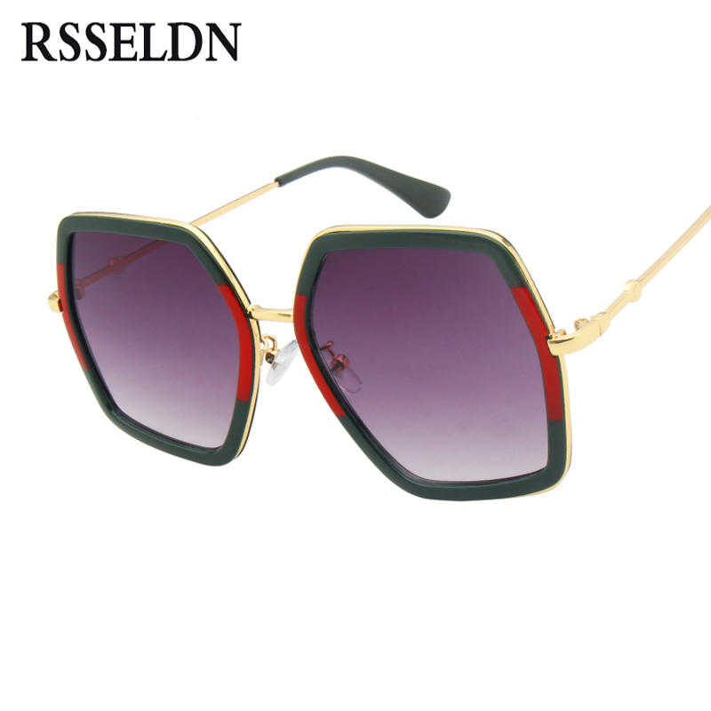 RSSELDN Fashion Hexagon Sunglasses Women Brand Luxury 2018 Gradient Lens Sun Glasses For Women Square Oversized Shades Female UV