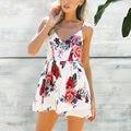 2017 mujeres ocasionales del verano de playa bohemio de la impresión floral de la gasa backless corto mono playsuits mamelucos combinaison femme