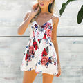 2017 mulheres casual praia verão bohemian floral vintage imprimir chiffon backless curto jumpsuit playsuits macacão combinaison femme