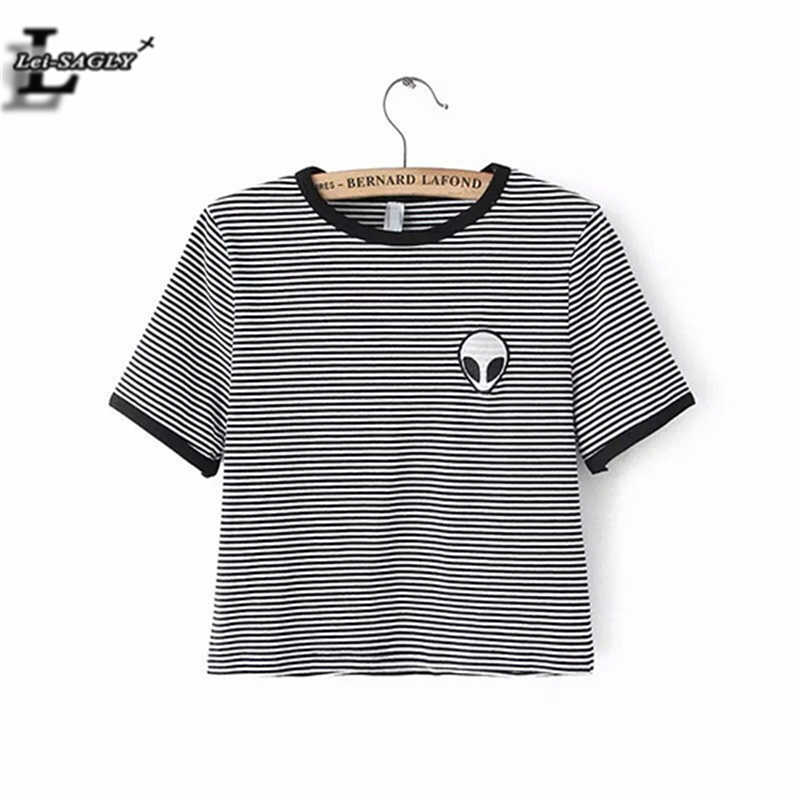 0113ee8c25b9 Lei-SAGLY Striped 3D Print Aliens T Shirts Women Short Sleeve Tee Shirt  Comfortable Female