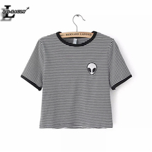 Lei-SAGLY Striped 3D Print Aliens T Shirts Women Short Sleeve Tee Shirt Comfortable Female Students T-shirts Teenagers H146
