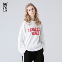 Toyouth T Shirts 2017 Autumn Women Casual Letter Printed Cotton Loose Long Sleeve O Neck Fashion