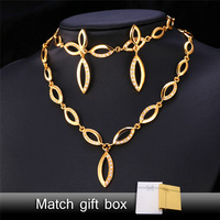 Gold Brilliant Set Earring Necklace Bracelet 18K Real Gold Plated Eye Asymmetry Mask Cubic Zirconia Jewelry