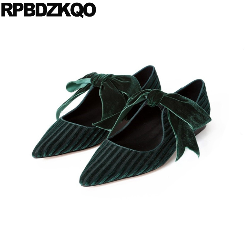 Mary Jane Pointed Toe Party Dress Green 2018 Black Cute Velvet Ladies Designer Shoes China Kawaii Big Bow Women Chinese Flats casual shoes women office ladies shoes lady cute bow tie pointed toe flats female cute spring