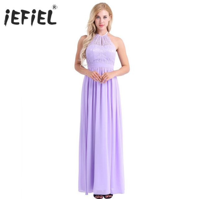 12497d13ecb54 US $20.49 35% OFF Womens Ladies High Neckline Halter Lace Floral A line  Chiffon Dress Birthday Party Prom Gown Vestido de festa Cocktail Dress-in  ...