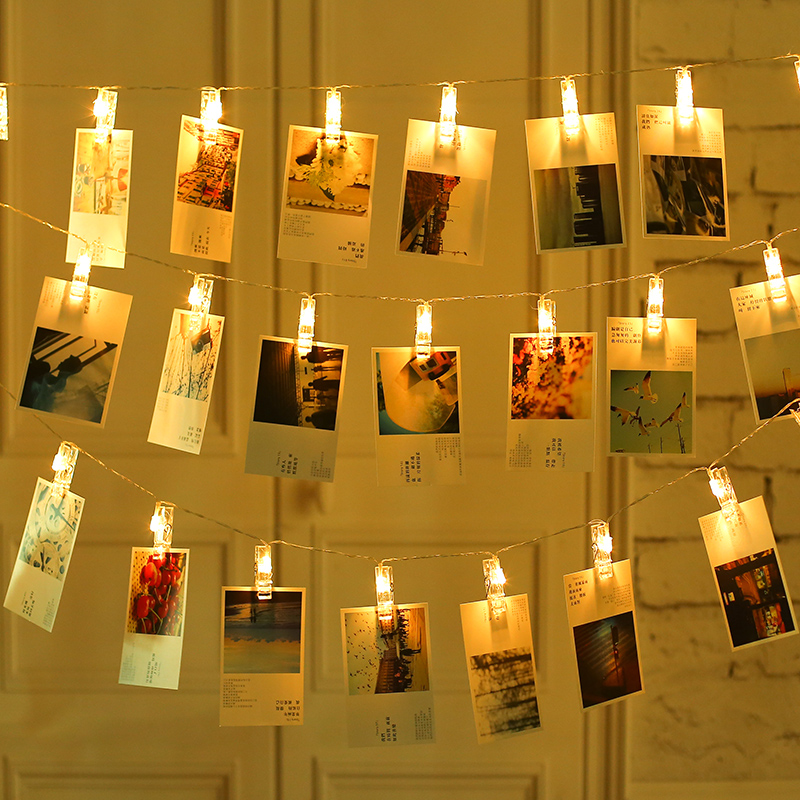 LED Photo Clip Holder String Card Picture Clip Pegs LED String Light Fairy Christmas Wedding Party Valentine's Day Decoration