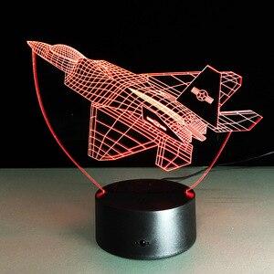 Image 2 - Lámpara de mesa LED 3D con Control remoto para avión de aire lámpara de ambiente de 7 cambios de color con batería de 3AA y USB