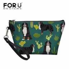 FORUDESIGNS Cute Dog Printing Cosmetic Cases Women Wash Bag for Make Up Ladies Kit Bags Travel Necessity Girls Pencil Box
