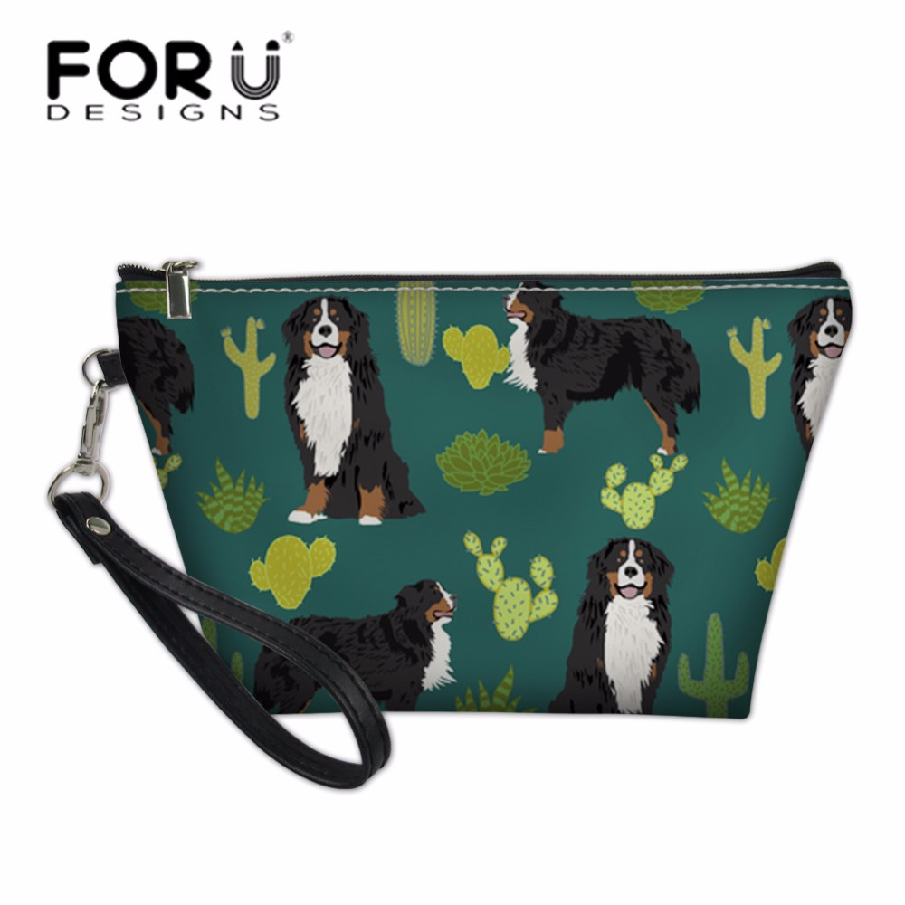 FORUDESIGNS Cute Dog Printing Cosmetic Cases Women Wash Bag for Make Up Ladies Wash Kit Bags Travel Necessity Girls Pencil Box