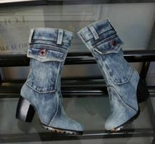 Kaeve women winter boots new female blue canvas Chunky Boots round toe Botas Femininas cowboy chunky heel womens denim Martin