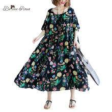 BelineRosa England Style Women's Dresses Elegant Floral Printing Cotton Linen Oversized Dresses of the Big Sizes TYW00871