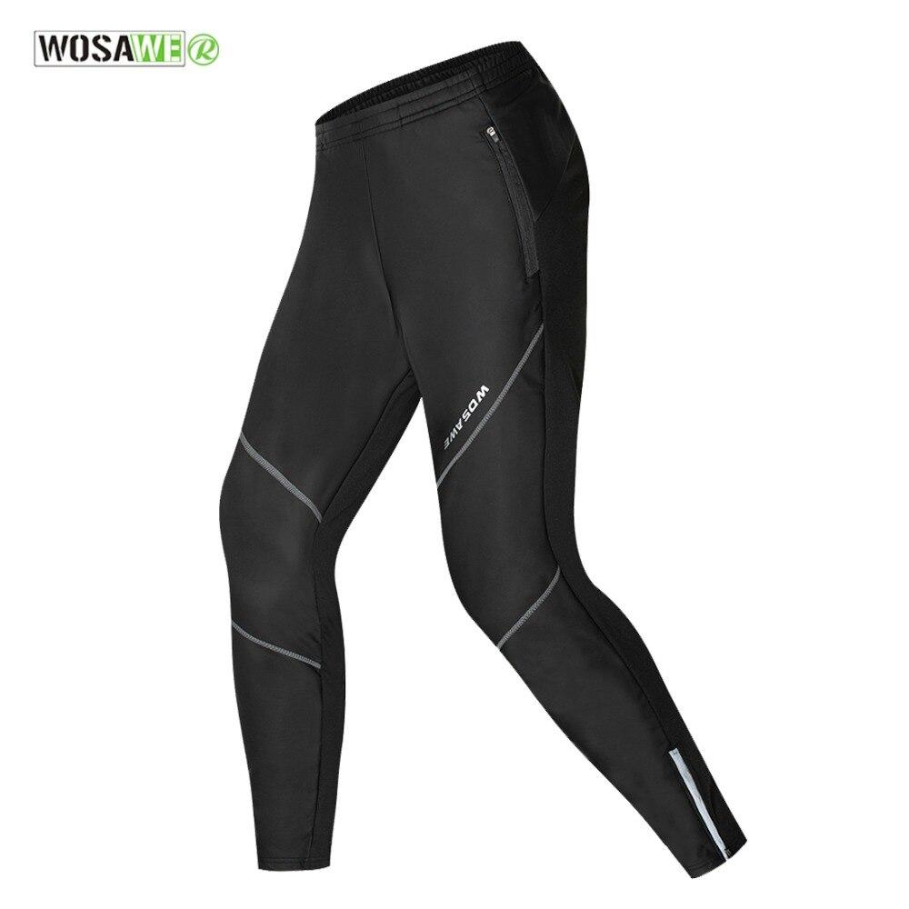 WOSAWE Fleece Thermal Winter Cycling Pants Waterproof Windproof Running Tights Men s Sportswear Racing Riding Bike
