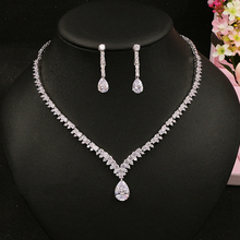 Beidal Pendants Jewelry Sets Cubic Zirconia Wedding Necklace and Earrings Luxury Crystal Bridal Jewelry Sets For Bridesmaids