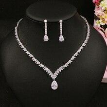 Beidal ensembles de bijoux suspendus en zircone cubique, collier et boucles doreilles de mariage, ensembles de bijoux de mariée en cristal de luxe pour demoiselles dhonneur