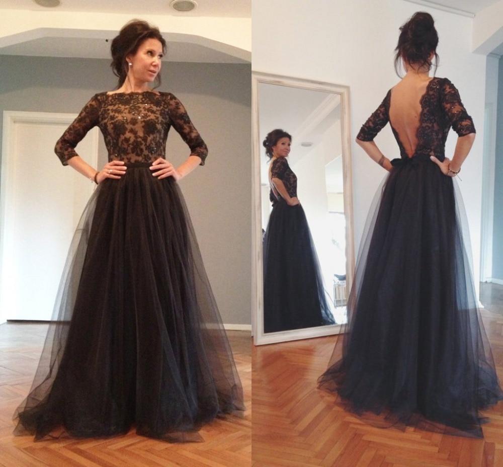 Vestidos Novia Negro Cuello Redondo De Tres Cuartos Backless