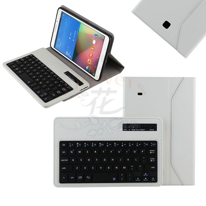 2014 new Detachable Bluetooth Keyboard Crazy Horse Case Smart cover For Samsung galaxy tab 4 tab4 8.0 T330 T331 T335 - White bluetooth detachable keyboard folio case cover for samsung galaxy tab a 9 7 t550 h029